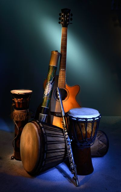guitar, drums, musical instruments